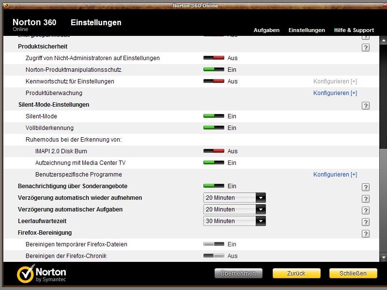 Norton 360 auf Windows 10, Einstellungen mit Standardbenutzer anpassen  Norton Community