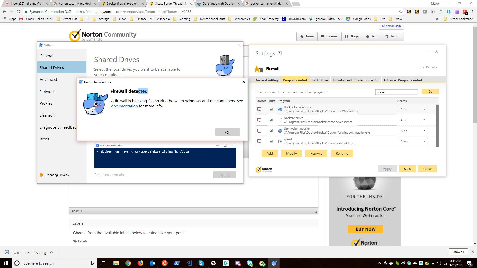 Docker volume mounting issue on Windows 10   Norton Community