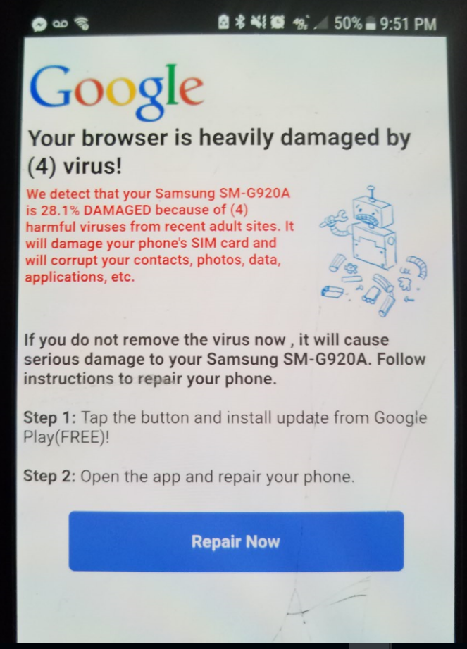 Mobile phone, Android, Virus warning on google browser | Norton