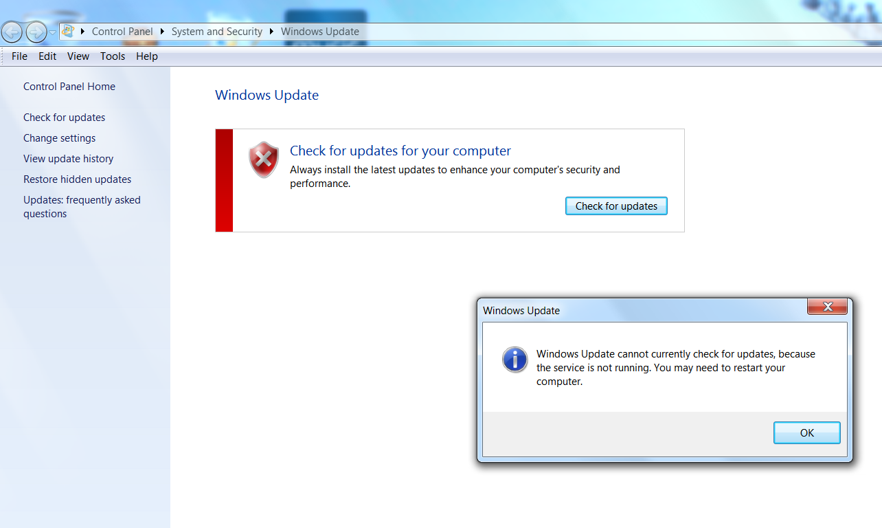 Unable to access windows update impossible ouvrir windows update