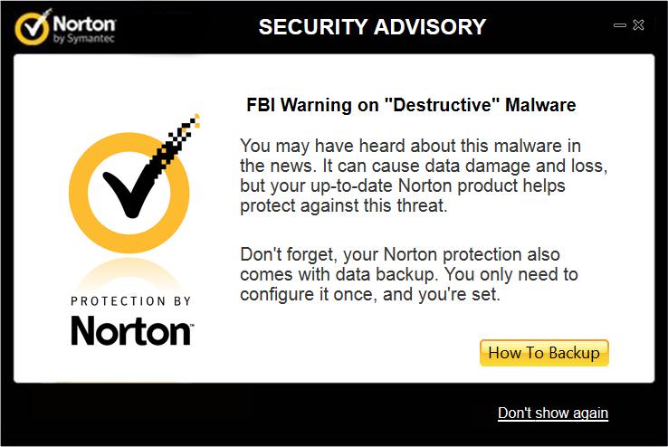 Fbi warning on destructive malware norton community