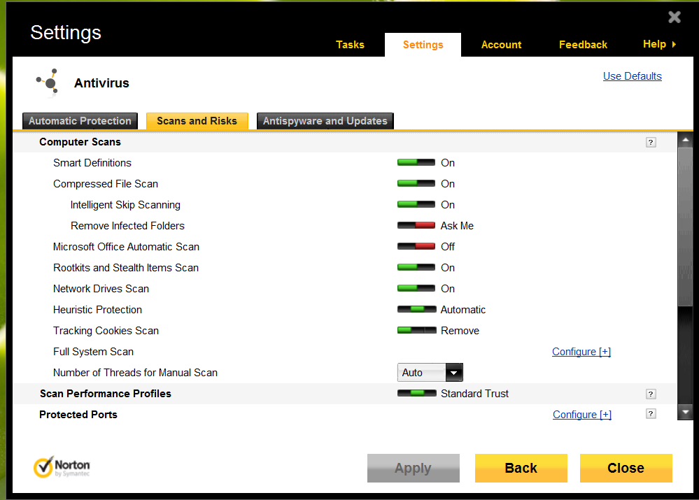 How do I configure scan exclusions for Norton 360 ver 6 2 1 5
