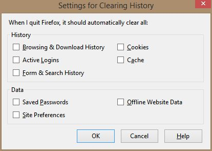 Setup, Firefox Cleanup permanently removes a LOT more then only