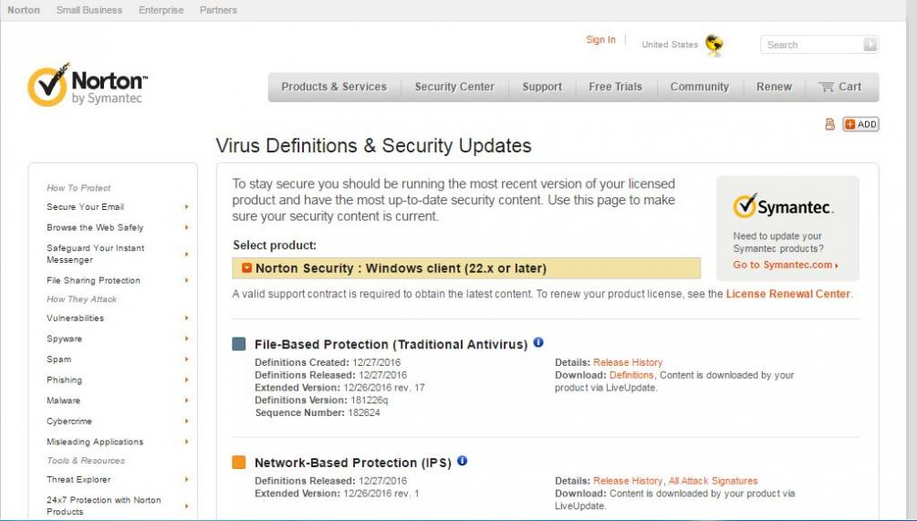 Norton virus definition download.