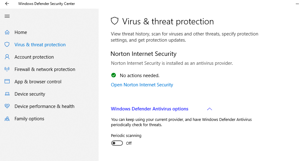 How do I disable/uninstall Windows Defender in W10 Pro? | Norton