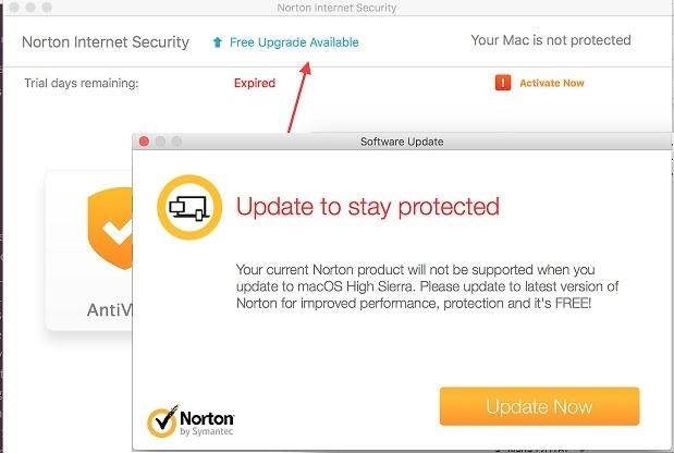 Free Norton Update for macOS High Sierra/Update to stay