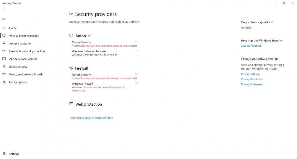KB4471332 Windows 10 UPDATE  Norton verses Defender