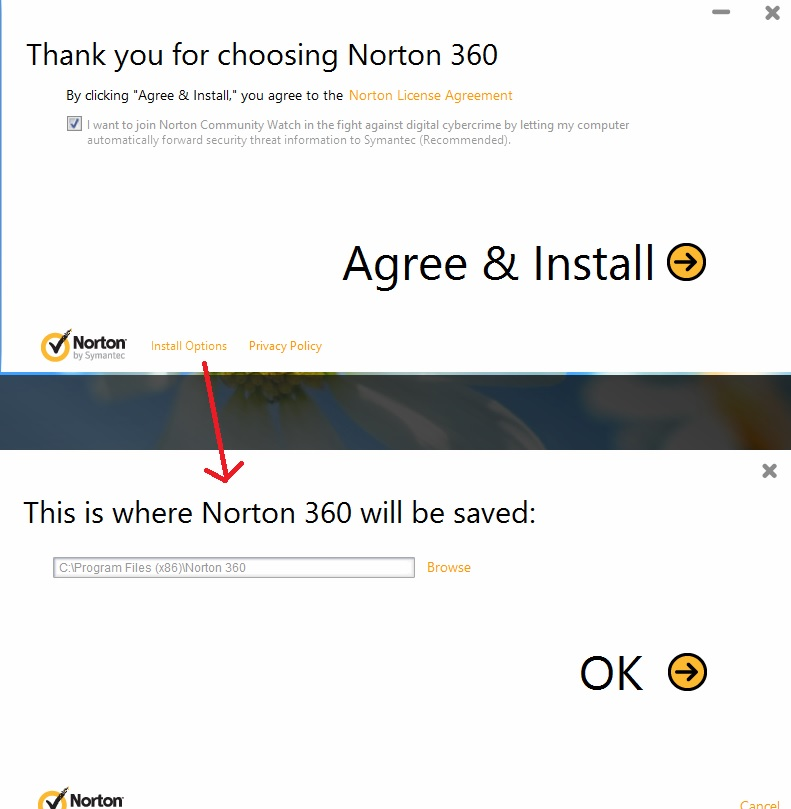 install norton 360 in directory other than c drive norton community. Black Bedroom Furniture Sets. Home Design Ideas