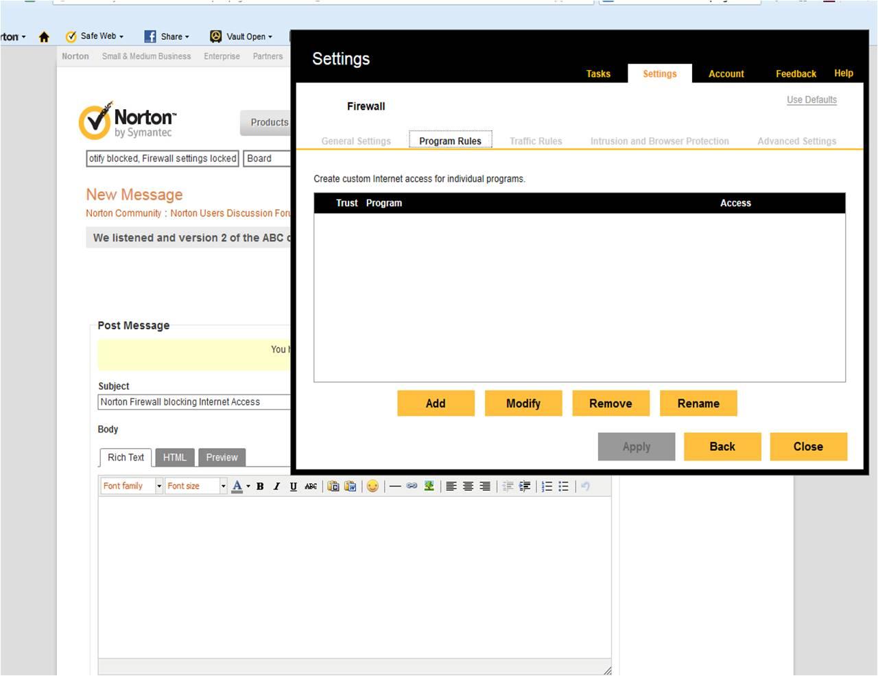 Spotify blocked, Norton Firewall settings locked! | Norton