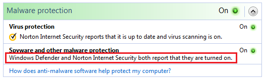 Version 22 7 0 76 incompatible with Vista Windows Defender
