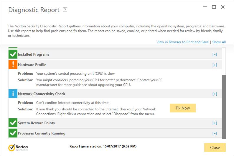 Diagnostic Report - Network Connectivity Check shows incorrect