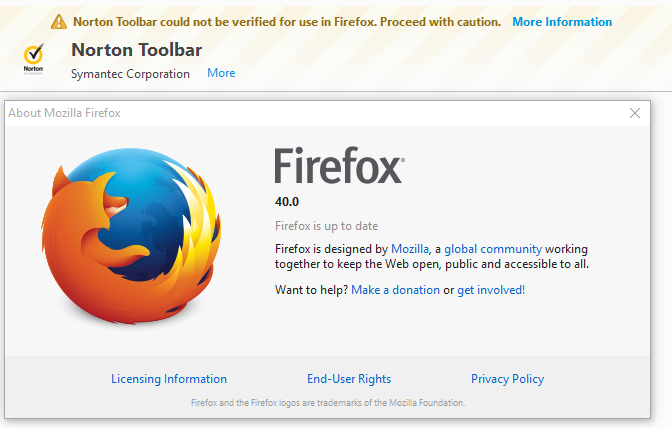 Norton Toolbar could not be verified for use in Firefox  Proceed