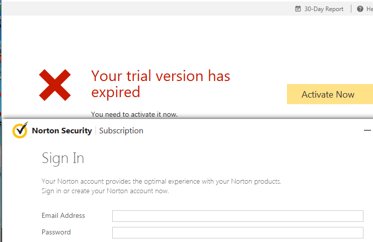 Expired Norton Security trial blocked all Internet access