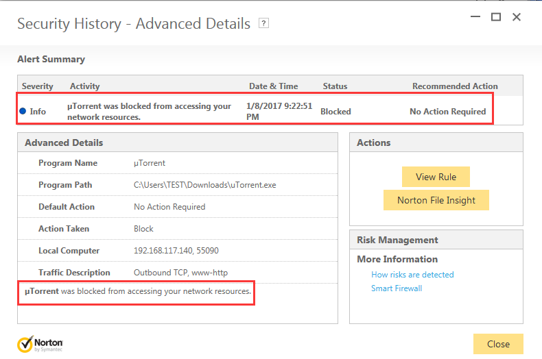 Norton blocked uTorrent from accessing internet | Norton