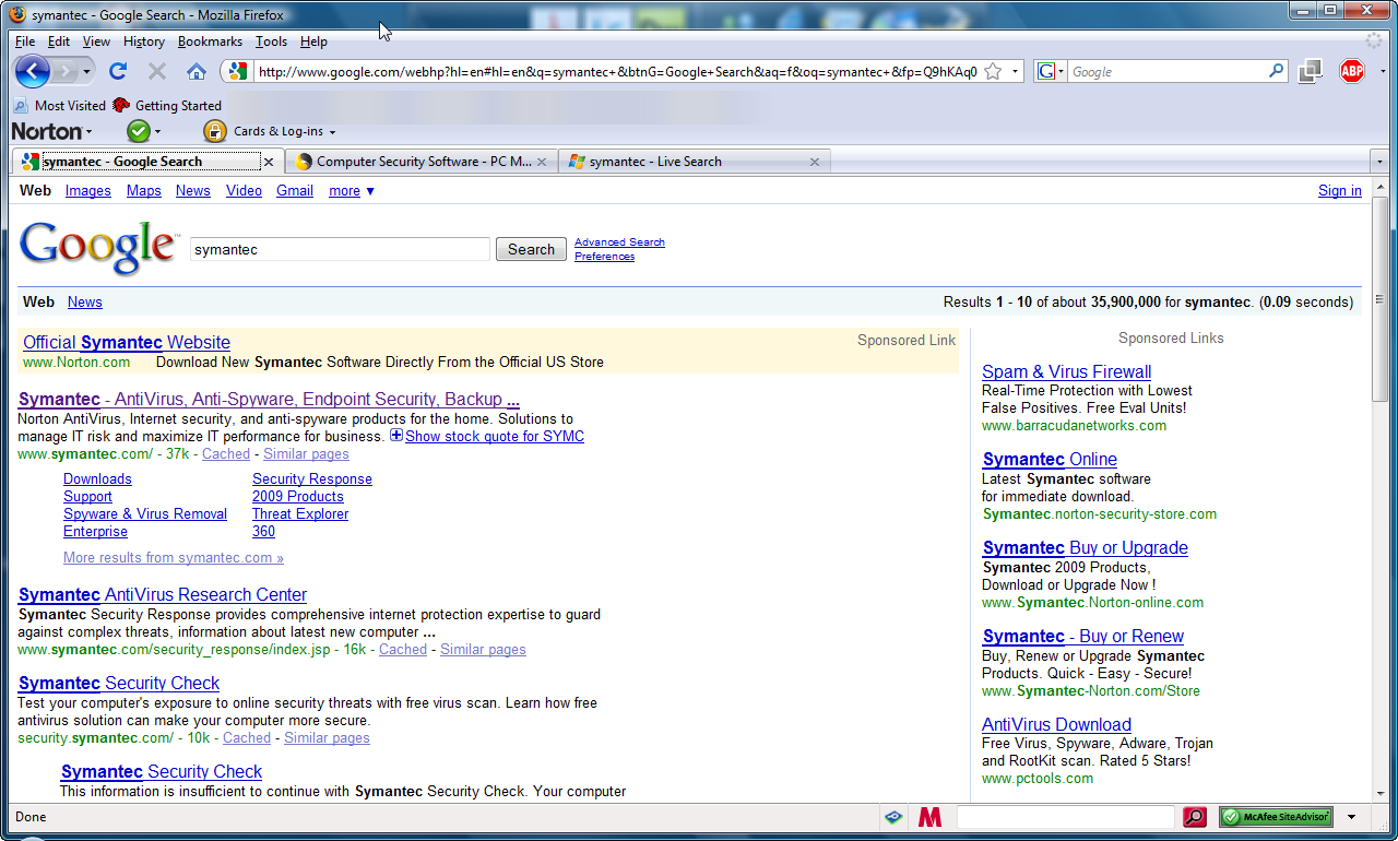 Norton Safe Web cannot show site ratings at google search engine when ...