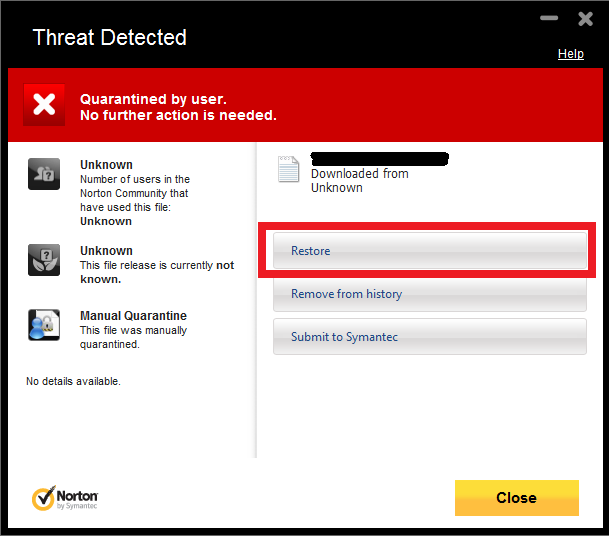 How to get Norton 360 to stop deleting a program exe file that it