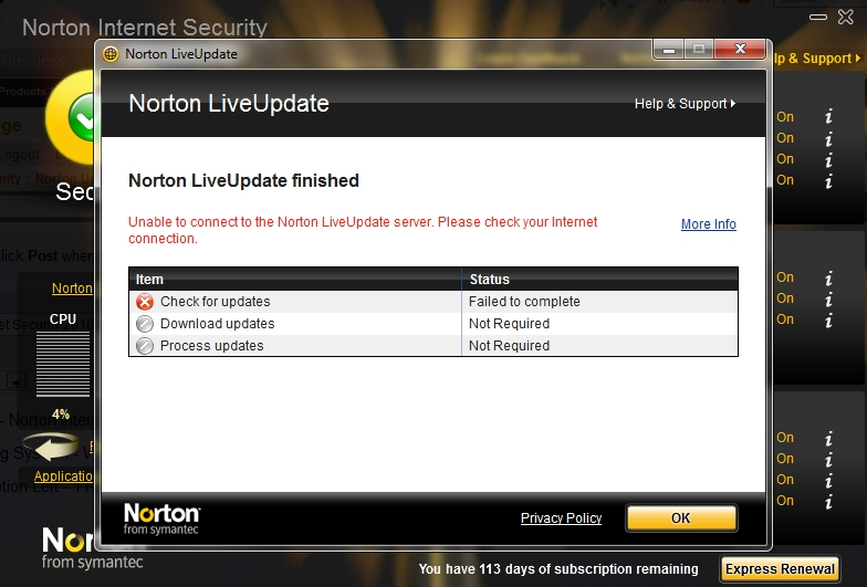 norton internet security updates failed to complete installation