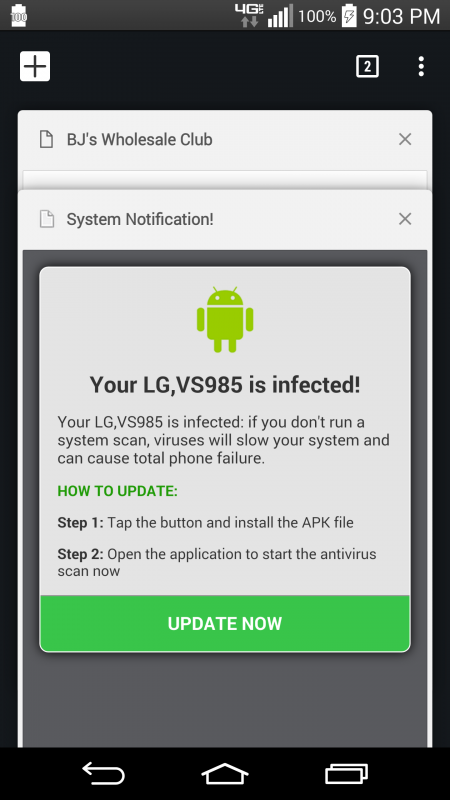 virus notification on phone