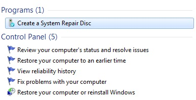 Creating a Repair Disc in Windows 7 and Vista SP1 for future