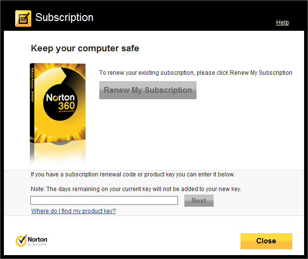 what does a norton product key look like