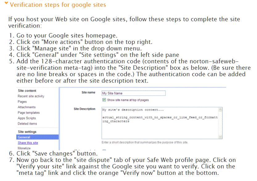site verification in google domains | Norton Community