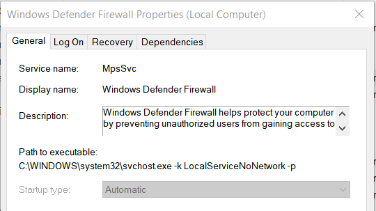 Windows 10 disable windows defender firewall service | unable to