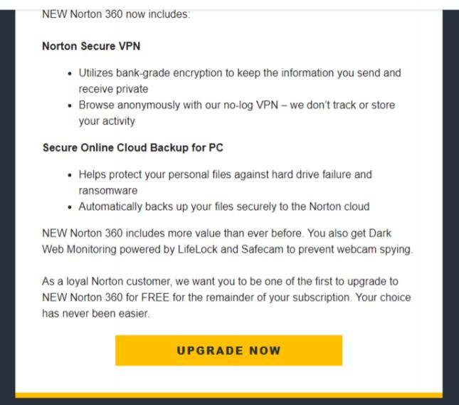 Norton 360 Premium II upgrade email | Norton Community