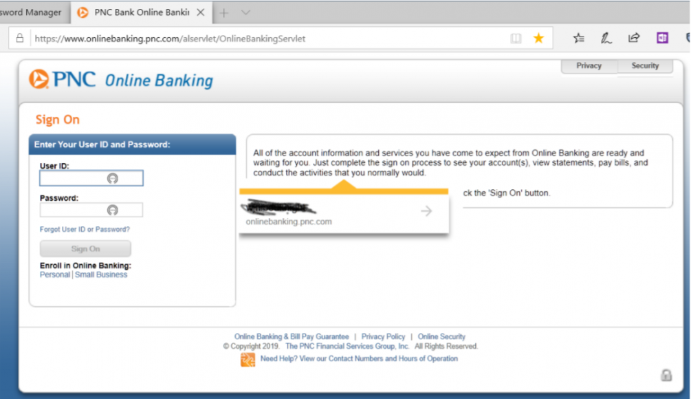 NOrtonj Passsword Manager does not work with PNC Bank login | Norton