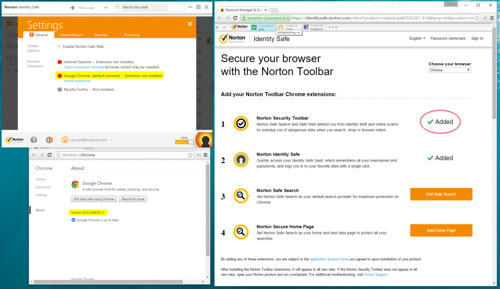 Norton Toolbar installed on Chrome but not detected by Identity Safe