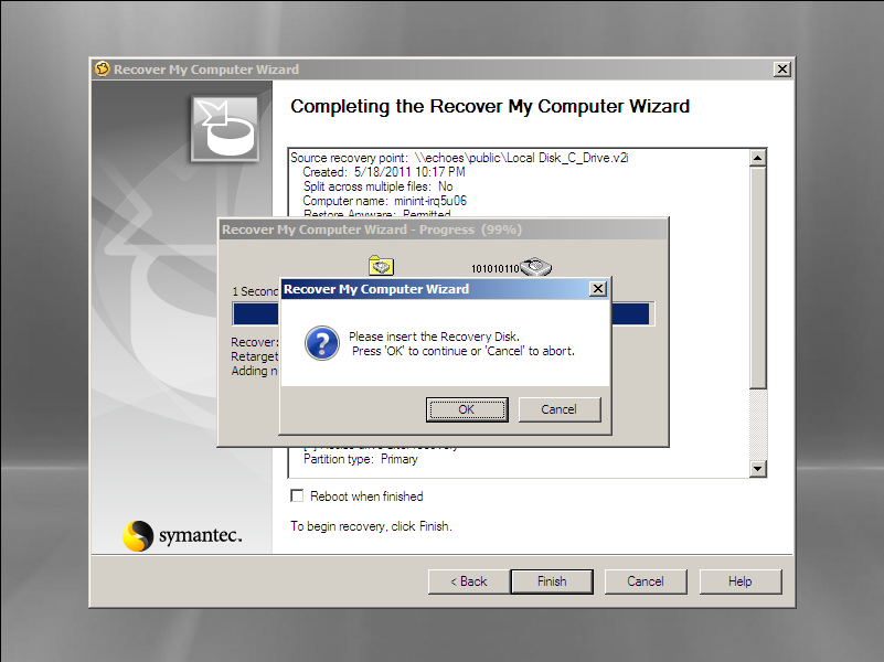 Insert recovery disc