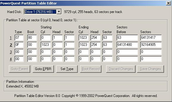 powerquest partition table editor