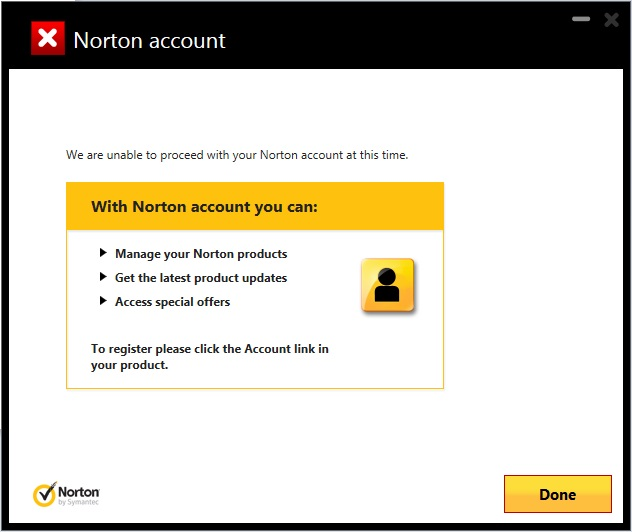 unable to register norton 360 premier edition on my pc