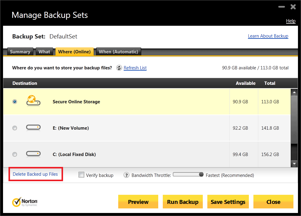 how to delete n360_backup