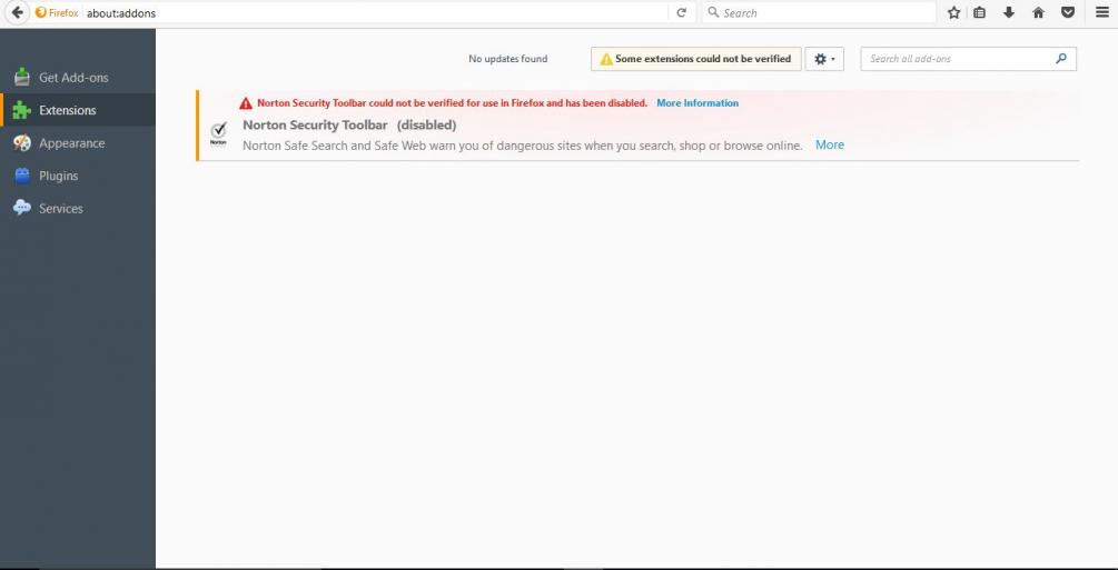 Firefox disabled Norton Security Toolbar extension   Norton Community