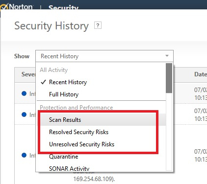 Programmitically read history or send an email if scan finds a virus