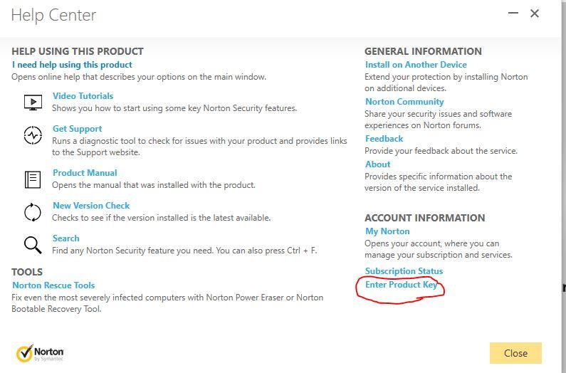 norton internet security product key input