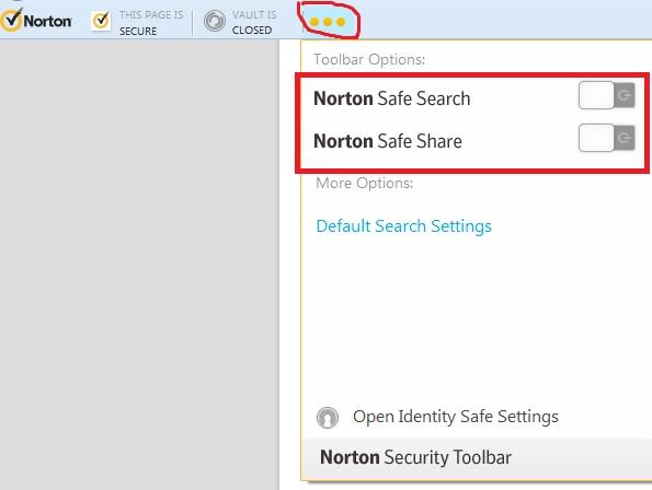 disable norton safe search