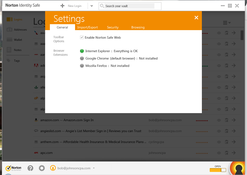 Norton Id Safe Tool Bar Vault Not Showing Up In Chrome