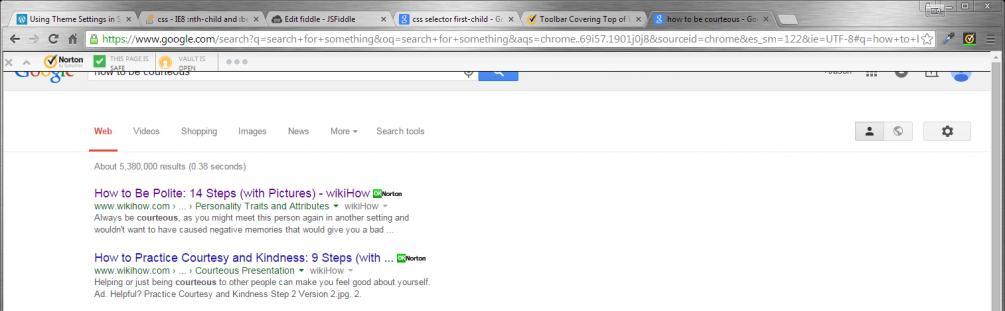 Toolbar Covering Top of Websites | Norton Community