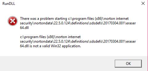 eraser64 dll start up error | Norton Community