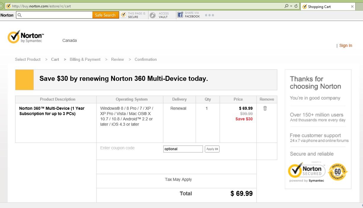 Norton coupon code renewal