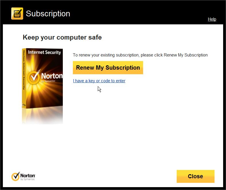 Выберите продукт Norton Текущая подписка предусматривает бесплатные обновле
