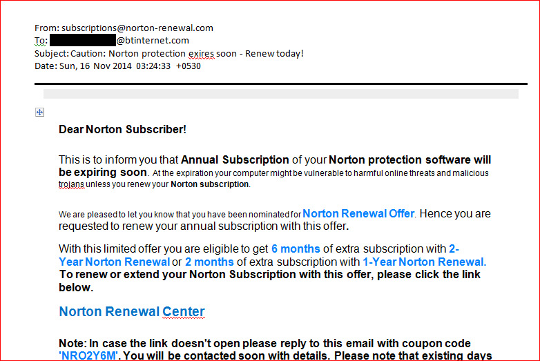 Is this subscription email from Norton genuine, please